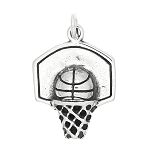 Sterling Silver One Sided Basketball Hoop with Basketball Charm