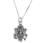 Sterling Silver United States of America Great Seal Charm with Box Chain Necklace