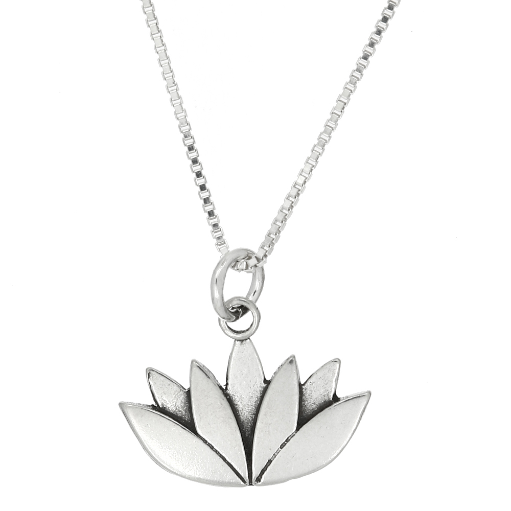 Sterling Silver Lotus Flower Charm With Box Chain Necklace