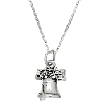 Sterling Silver Three Dimensional Liberty Bell Necklace