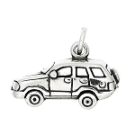 Sterling Silver 3D Sport Utility Vehicle SUV Charm Pendant