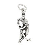 Sterling Silver Three Dimensional Hockey Player Charm