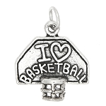 Sterling Silver I Love Basketball with Hoop Charm