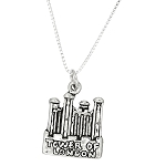 Silver Historic Castle Tower of London Travel Charm with Box Chain Necklace