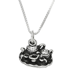 Sterling Silver Tea Pots Cup Set with Box Chain Necklace