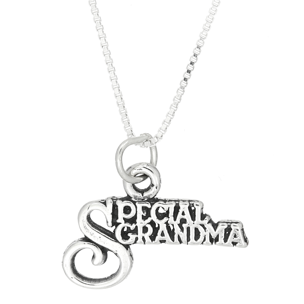 Sterling Silver Special Grandma Charm With Box Chain Necklace