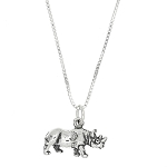 Sterling Silver Three Dimensional Rhinoceros Necklace