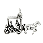 Sterling Silver 3D Horse and Buggy Charm