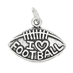 Sterling Silver I Love Football on Football Charm