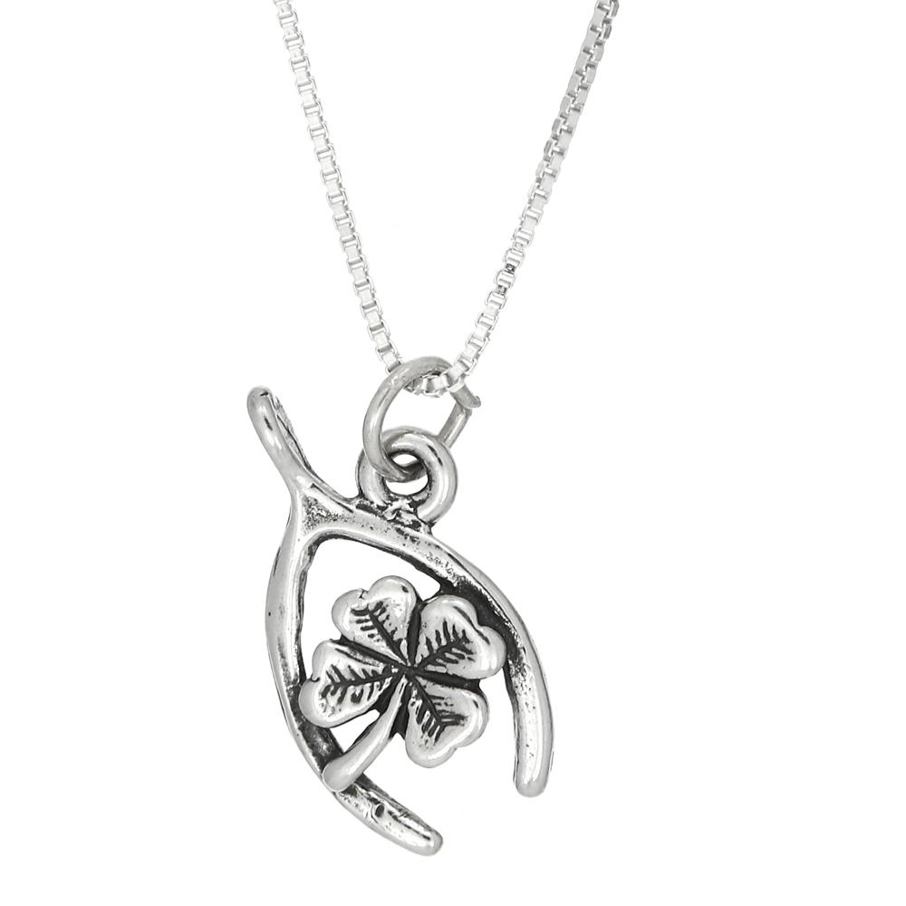 Lgu Sterling Silver One Sided Wishbone Necklace