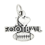 Sterling Silver One Sided I Love Football Charm