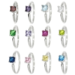 Sterling Silver Cubic Zirconia Princess Cut Birth Stone Children's Ring