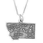 Sterling Silver State of Montana Charm with Box Chain Necklace