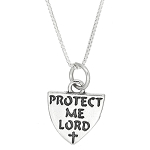 Sterling Silver Protect Me Lord Shield Charm with Box Chain Necklace