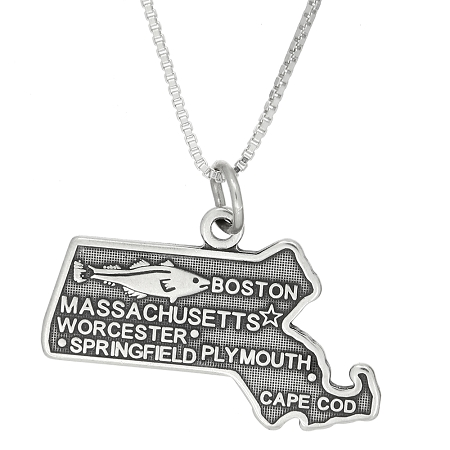 sterling silver state of massachusetts charm with box