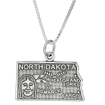Sterling Silver State of North Dakota Charm with Box Chain Necklace