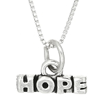 Sterling Silver Hope Charm with Box Chain Necklace