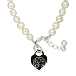 Cultured Freshwater Pearl Bracelet with Sterling Silver Engravable Heart Disc for Child