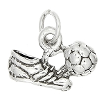 Sterling Silver One Sided Soccer Cleat and Ball Charm