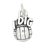 Sterling Silver One Sided I Dig Volleyball Charm