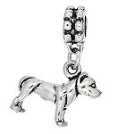 Sterling Silver 3D Large Pit Bull Dangle Bead Charm