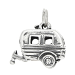 Sterling Silver Three Dimensional Hitched Recreational Vehicle Trailer Charm