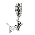 Sterling Silver Tiny Lightweight Basset Hound Dog Dangle Bead Charm
