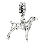 Sterling Silver Weimaraner Pointer Dog Dangle Bead Charm