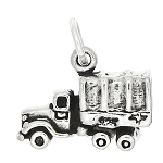 Sterling Silver Three Dimensional Military Cargo Truck Charm