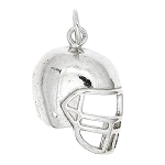Sterling Silver 2D One Sided Football Player's Helmet Charm