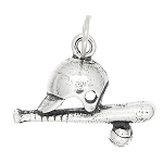 Sterling Silver One Sided Baseball Softball Equipment Charm