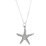 Sterling Silver One Sided Ocean Nautical Starfish Necklace