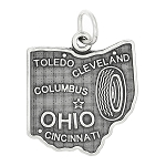 Sterling Silver State of Ohio Charm