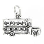 Sterling Silver 3D Boxy School Bus Charm