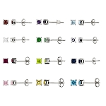 Sterling Silver Cubic Zirconia Princess Cut Birth Stone Children's Earrings