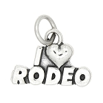 Sterling Silver One Sided I Love Rodeo Charm