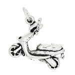 Sterling Silver Three Dimensional Moped Low Powered Motorized Style Scooter Charm