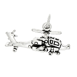 Sterling Silver Three Dimensional Apache Style Helicopter Charm
