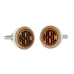 Monogrammed Personalized Round Shape Wood Cufflinks