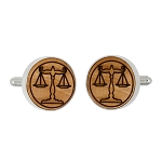 Monogrammed Personalized Round Shape Wood Cufflinks - Custom Cufflinks