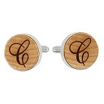 Monogrammed Personalized Round Shape Wood Cufflinks - One initial only