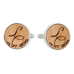 Monogrammed Personalized Round Shape Wood Cufflinks - One initial and Date