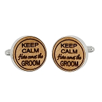Monogrammed Personalized Round Shape Wood Cufflinks -