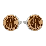 Monogrammed Personalized Round Shape Wood Cufflinks For Groom, Groomsman, Best Man etc.