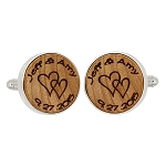 Monogrammed Personalized Round Shape Wood Cufflinks - Couple's name and Special date