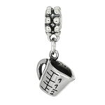 Sterling Silver 3D Measuring Cup Dangle Bead Charm