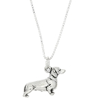 Sterling Silver Mother Dachshund Dog Pendant Necklace