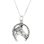 Sterling Silver One Sided Horse Head Inside Lucky Horseshoe Necklace
