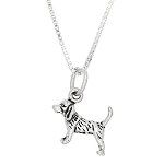 Sterling Silver Tiny Lightweight Puppy Beagle Dog Charm Pendant Necklace