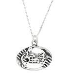 Sterling Silver One Sided Music Measure Necklace